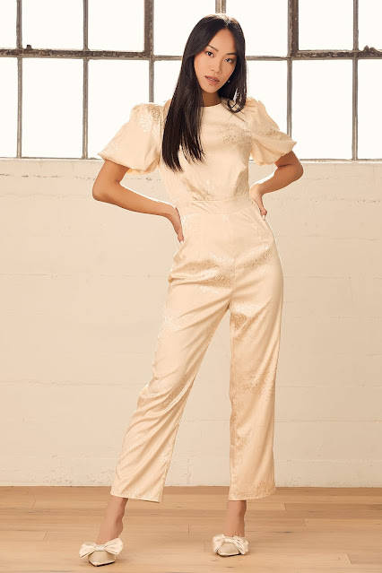 Time-champagne-floral-jacquard-puff-sleeve-jumpsuit-Lulus.com-KMich Weddings and Events-Philadelphia-PA