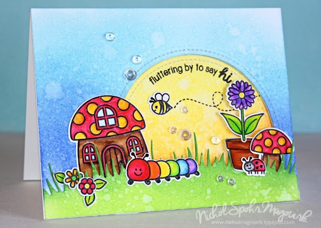 Sunny Studio: Backyard Bugs Watercolor Card by Nichol Spohr Magouirk.