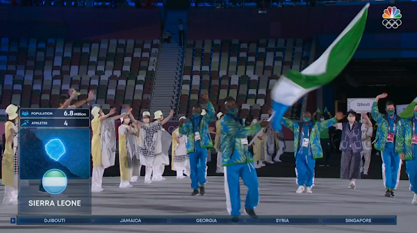 Tokyo 2021 Olympics Opening Ceremony Parade of Nations Sierra Leone flag waving