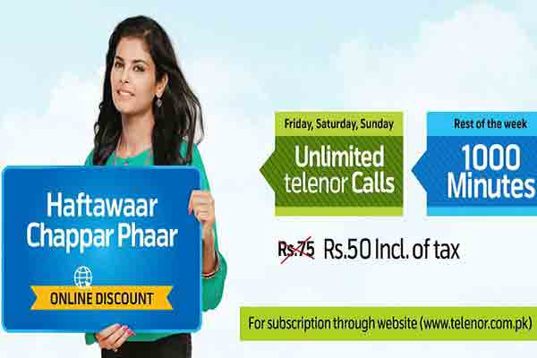 Get Online Discount on Telenor Haftawaar Chappar Phaar Offer