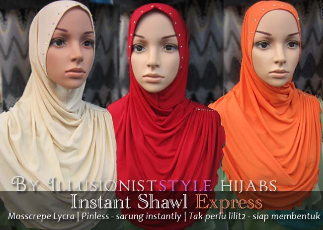 Instant Shawl Pinless Sarung siap ~ Illusionist Style Hijabs