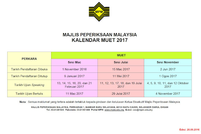 Kalendar Tarikh MUET 2017 Exam Date Calendar