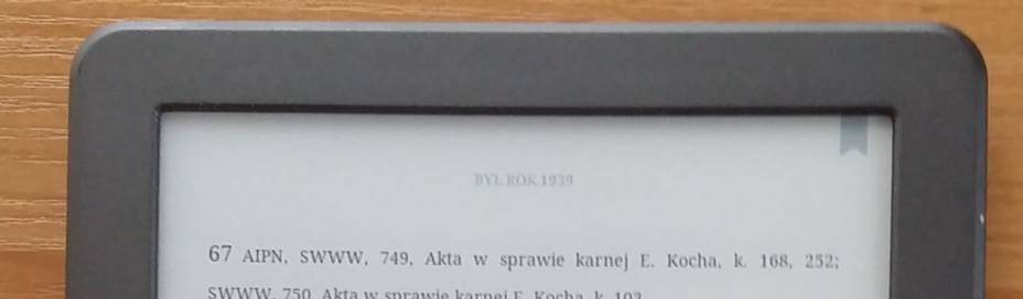 Aplikacja Kindle na InkBOOK Classic 2 - w prawym górnym rogu widoczna ikona dodanej zakładki