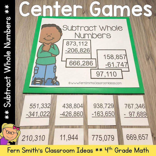 4th Grade Go Math 1.7 Subtract Whole Numbers Center Games #FernSmithsClassroomIdeas