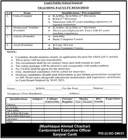 Sanjwal Cantt Public School Jobs 2021 in Pakistan