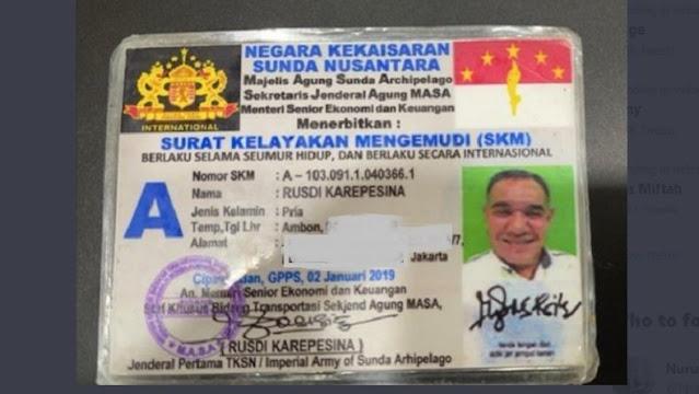 Bikin Geger, Ini Wujud SIM Negara Kekaisaran Sunda Nusantara, Siapanya Sunda Empire NIh??