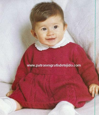 Vestido para nena tejido con dos agujas con moldes y paso a paso