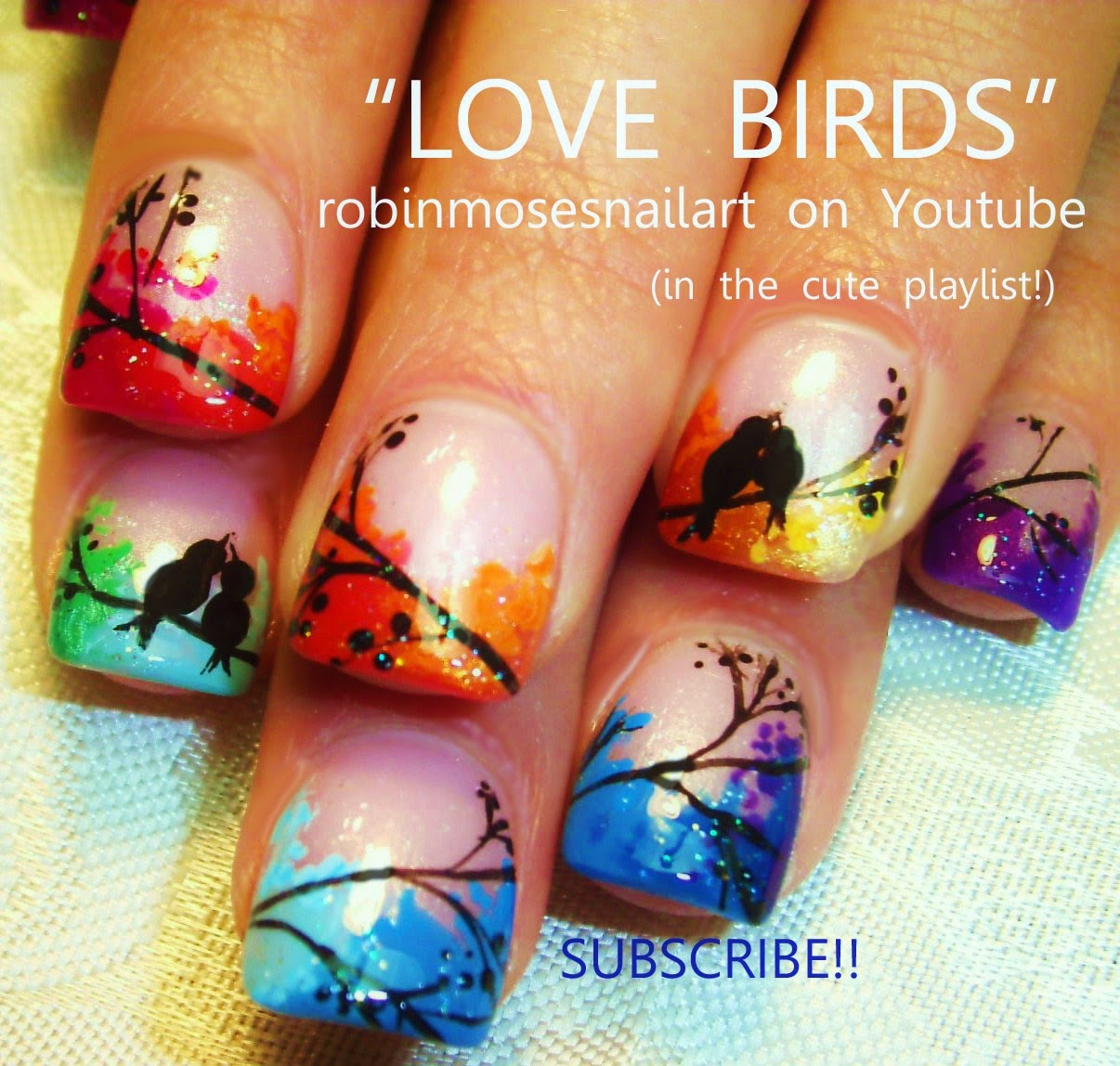 "Love Birds Nail Art: Robin Moses Nail Art: ""pastel Nails"" ""tree Nails"" ""nail"