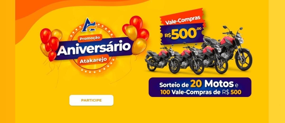 Participar Aniversário Atakarejo 2020 Motos Vale Compras - Cadastrar, Prêmios, Sorteios