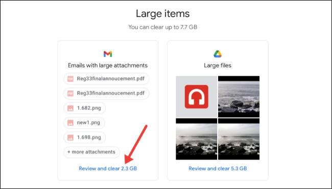 مراجعة ومسح العناصر الكبيرة على مساحة تخزين Google