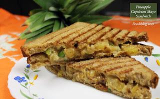 Pineapple and Capsicum Mayo Cream Cheese Sandwich recipe
