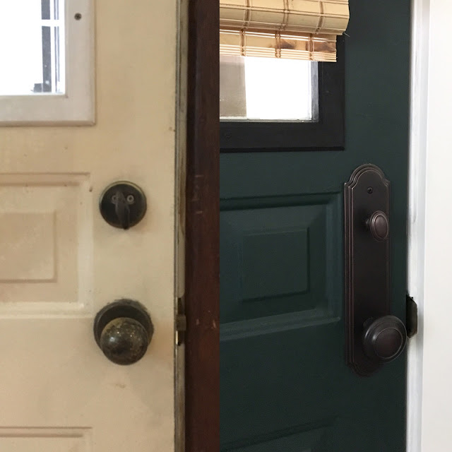 Installing-new-door-hardware-makeover-before-and-after