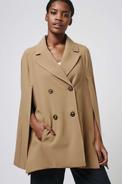topshop camel cape coat, beige cape coat, topshop cape,