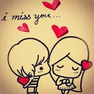 download cute girl & boy sketch with i miss you photo