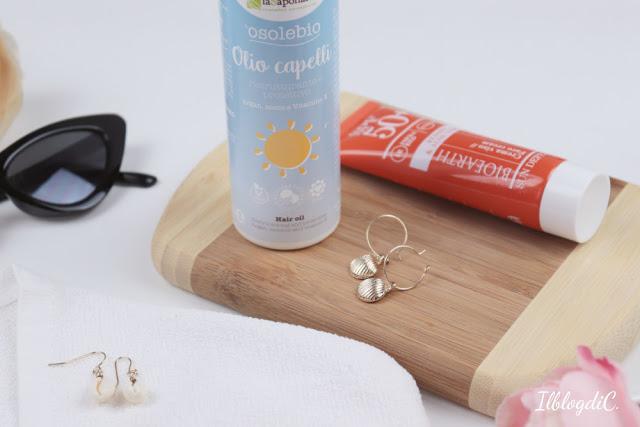Crema viso Spf 50 Bioearth e Olio solare per capelli La Saponaria review