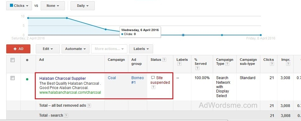 google adwords ad suspended
