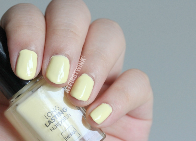 HEMA nail polish 443 - pastel yellow swatches