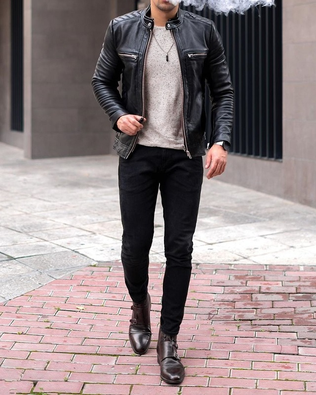 Leather jacket with Round neck T shirt and trousers.