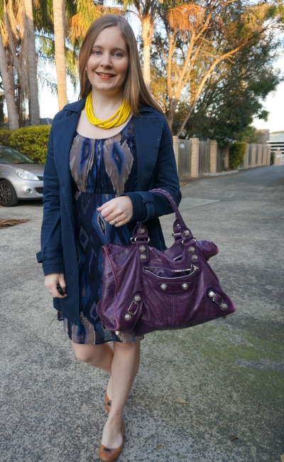navy mac and Aztec print dress with purple Balenciaga work bag g21 hardware office style | AwayFromBlue