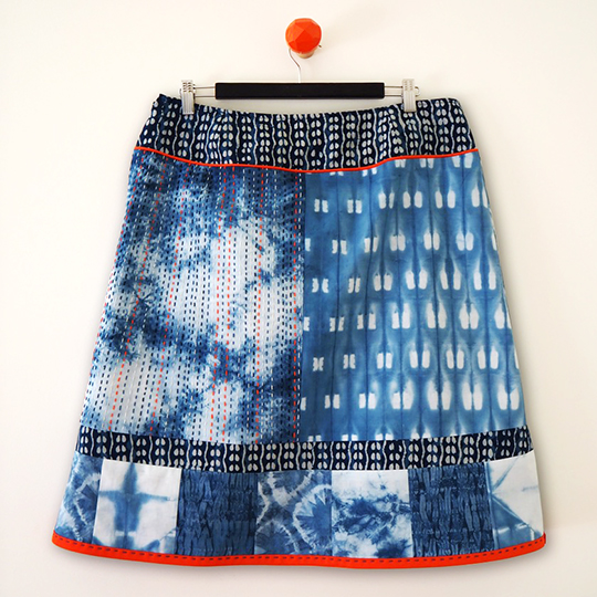 Shibori indigo dyed kantha embroidered skirt back