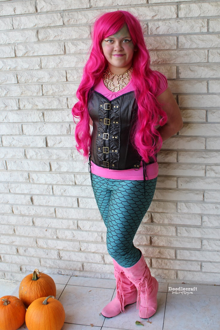 Steampunk pink hair with corset and leggings land mermaid easy Halloween costume