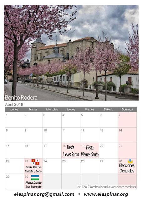 Calendario del mes de abril 2019