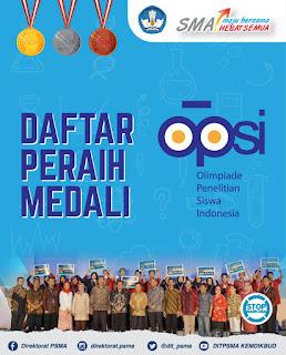 Daftar Peraih Medali Olimpiade Penelitian Siswa Indonesia Tahun 2018