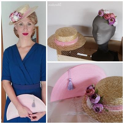 Invitada a boda con vestido azul azafata y sombrero paja con velo y flores en rosa y malva & bolso abanico by malonsilla