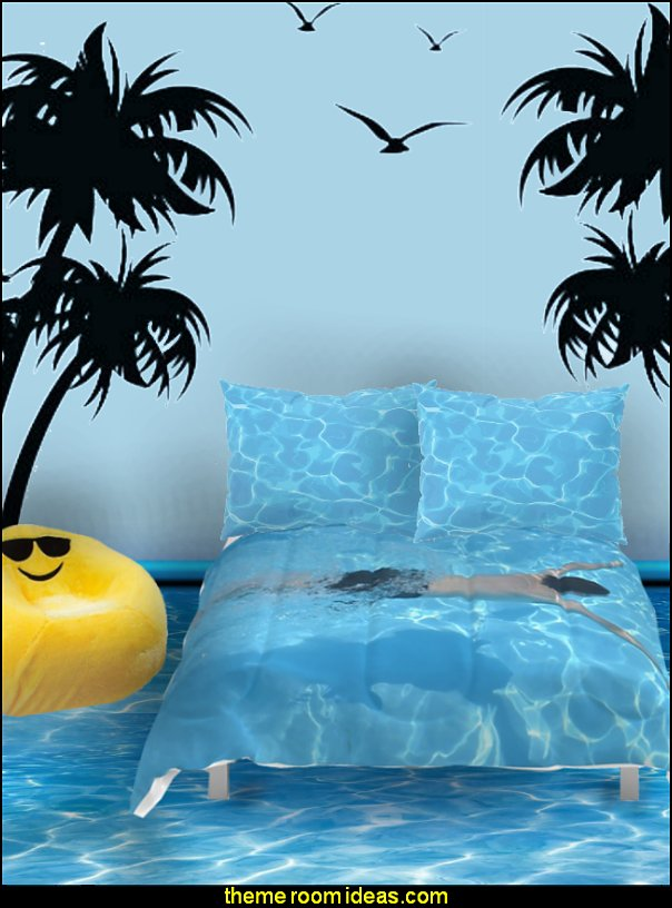 swimming pool bedding palm trees