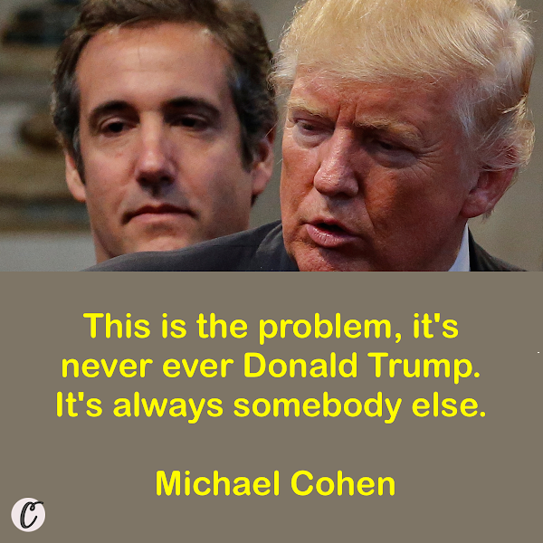 This is the problem, it's never ever Donald Trump. It's always somebody else. — Michael Cohen