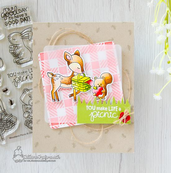 Woodland Picnic Card by Tatiana Trafimovich | Woodland Picnic Stamp Set, Land Borders Die Set and Plaid Stencil Set by Newton's Nook Designs #newtonsnook #handmade