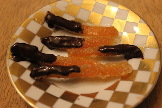 Delicous home-made organic tangerine and dark chocolate sweets