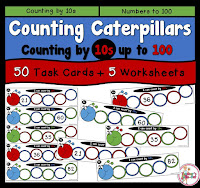Counting by 10s from any number. 50 Task Cards and 6 Worksheets