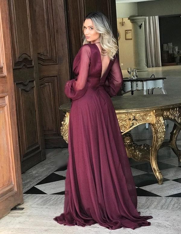 vestido longo vinho com manga longa
