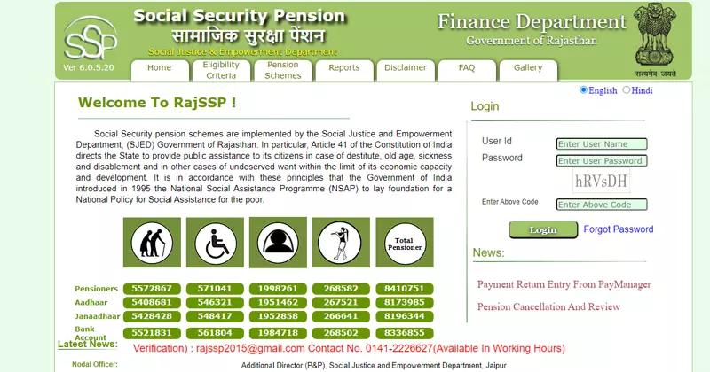 सामाजिक सुरक्षा पेंशन योजना के लिए ऑनलाइन आवेदन