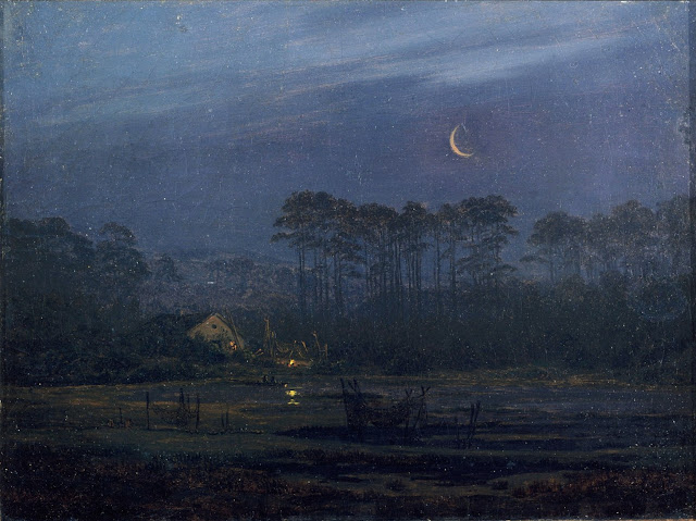 Evening at the River /  Lonely House in the Pine Forest Caspar David Friedrich 1820 / 1825