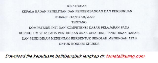 Keputusan Kepala Balitbang dan Perbukuan Nomor 018/H//KR2020 Tentang Kompetisi Inti dan Kompetensi Dasar untuk Kondisi Khusus tomatalikuang.com