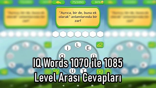 IQ Words 1070 ile 1085 Level Arasi Cevaplari