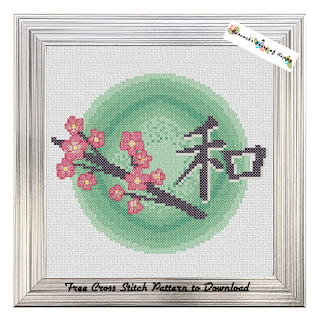 A sweet Japanese cherry blossom (sakura) cross stitch pattern