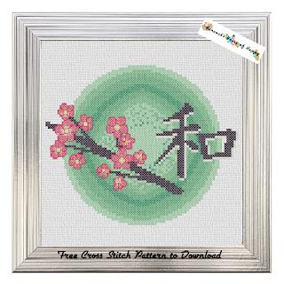elegant Japanese cherry blossom cross stitch pattern