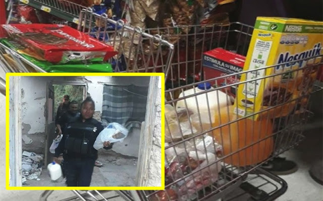 Policías compran despensa a niños que no tenían para comer