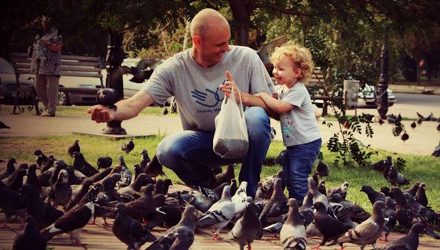 Папа с сыном кормят голубей