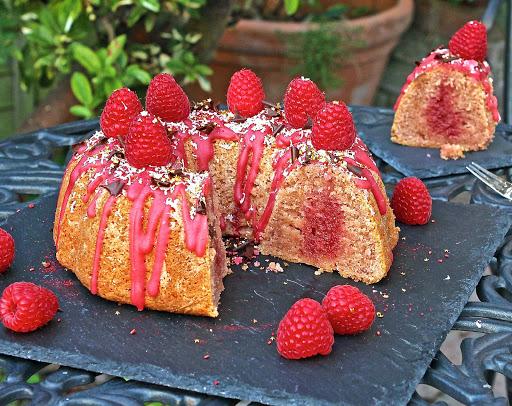 Raspberry Lemon Polenta Cake