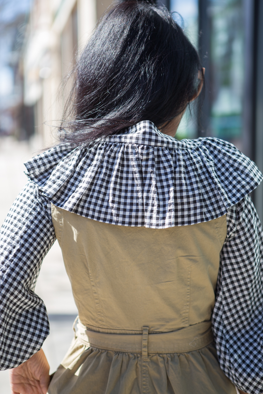 gingham, ruffles, trench dress, spring layers, topshop, zara, bell sleeves
