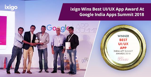 ixigo Wins Best UI/UX App Award At Google India Apps Summit 2018