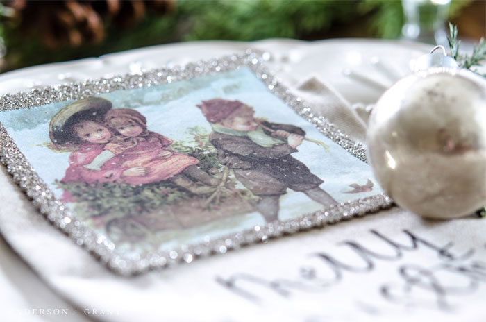 A vintage inspired ornament decorates this table for Christmas.  |  www.andersonandgrant.com
