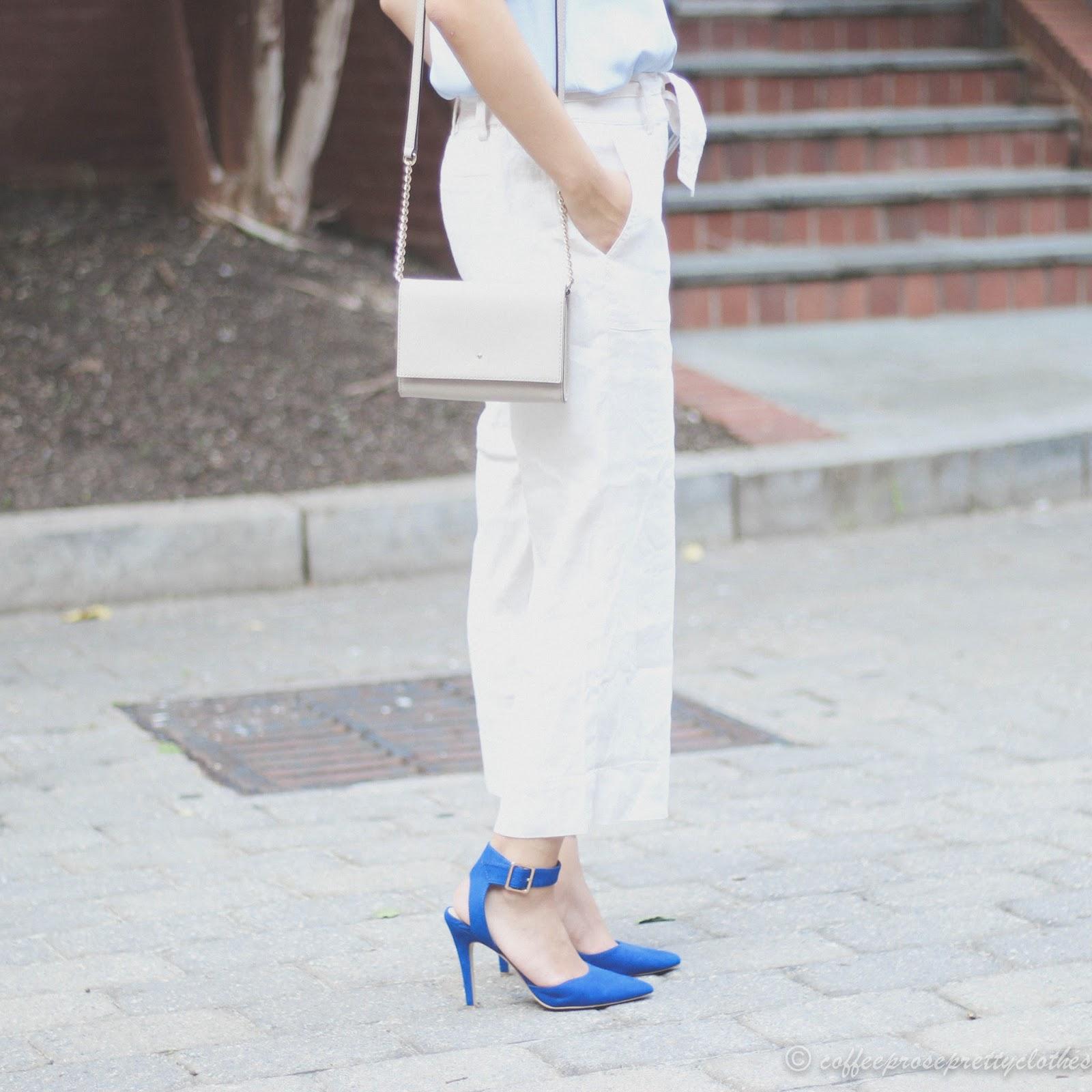 linen culottes, LOFT, blue tank