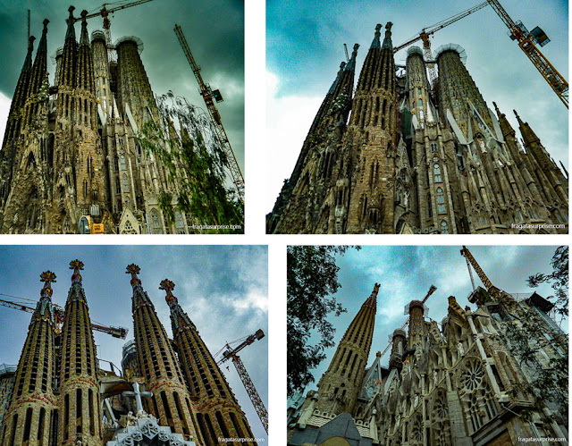 Torres da Basílica da Sagrada Família, em Barcelona