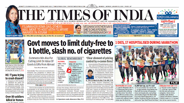 Times Of India Epaper 20th January 2020