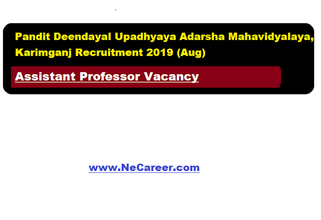 Pandit Deendayal Upadhyaya Adarsha Mahavidyalaya, Karimganj Recruitment 2019 (Aug) | Assistant Professor Vacancy